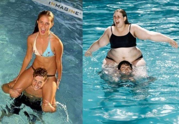 【水着カップルおもしろ画像】重いよ! 水の中で女性を肩車するカップルの理想と現実(笑)