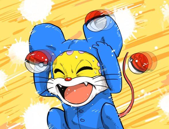 【ポケモンおもしろ画像】やめてー! ポケモンと間違えられ、モンスターボールを投げられるニャンちゅう(笑)