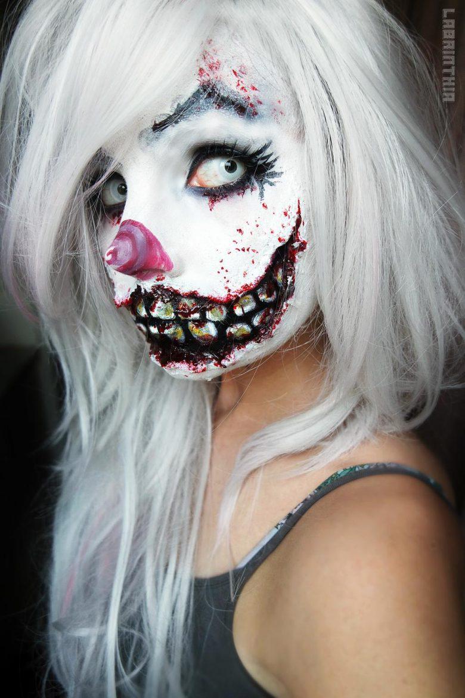 クール! ハロウィンにぴったりな不気味なピエロの少女メイクが怖かっこいい(笑)