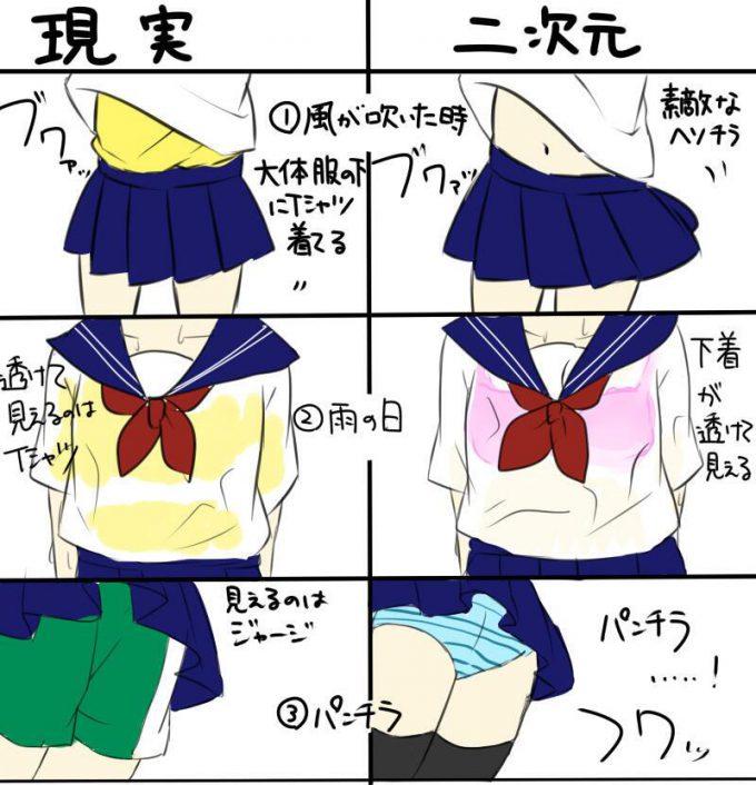 女子の制服の現実と二次元の差を描いたイラストがおもしろい(笑)