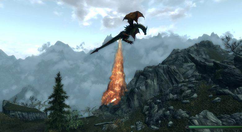 そこから? ゲーム『Skyrim』ですごいところから火炎を放射するドラゴン(笑)