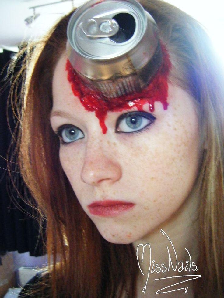 【海外ハロウィンおもしろメイク画像】ガチメイク! 頭に缶が刺さってるようなハロウィンメイクがリアル(笑)