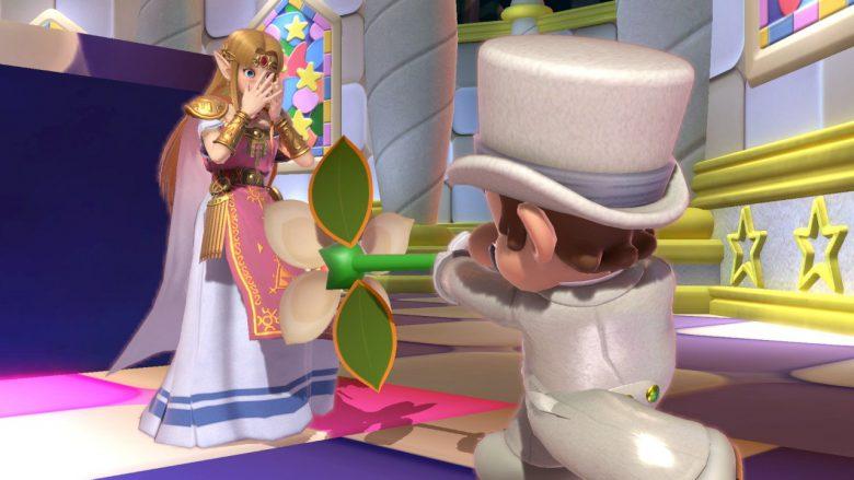 大ピンチ! 『スマブラSP』でゼルダにプロポーズするマリオの背後に鬼の形相のピーチ姫(笑)