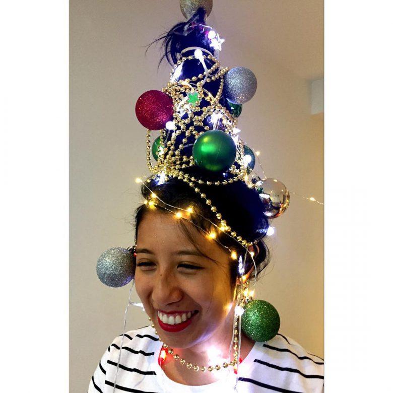 キラキラ! クリスマスパーティーで目立つツリーヘアスタイル(笑)