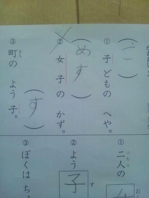 漢字の読みを答える問題「女子のかず。」の子どもの珍回答(笑)