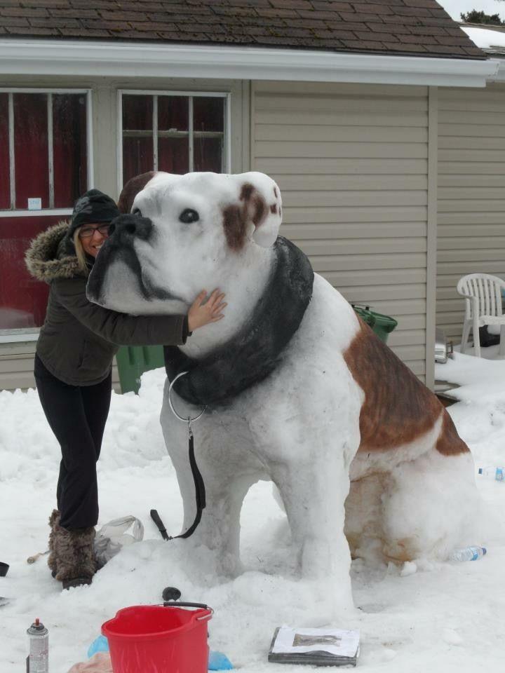 大きい! 雪で作った犬の雪だるまがかわいい(笑)