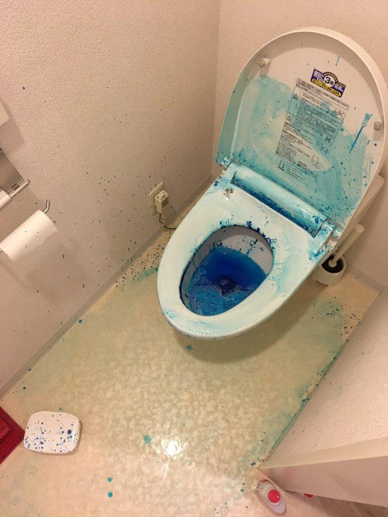トイレで「ブルーレットドボン」が大爆発してすごいことに(笑)