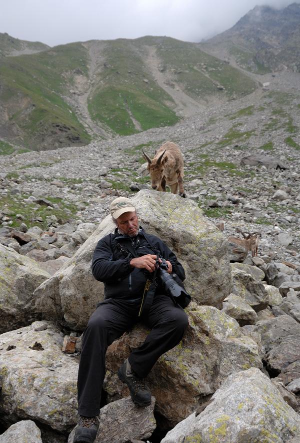 動物写真家、写真チェックに夢中で背後の動物に気付かない(笑)