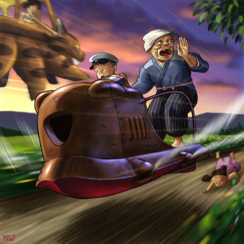 【ラピュタとトトロパロディおもしろイラスト画像】ラピュタの小型航空機「フラップター」でメイを探すカンタのおばあちゃん(笑)