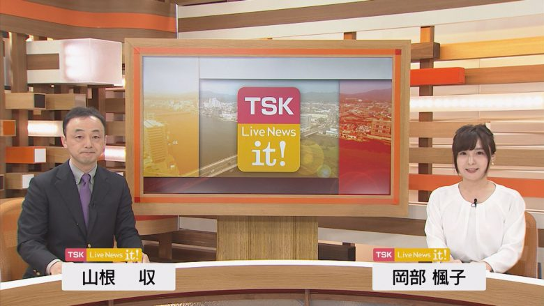 【テレビスタジオのソーシャルディスタンスおもしろ画像】ソーシャルディスタンスで離れていくTSK岡部アナと山根アナ(笑)