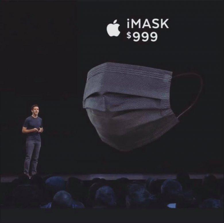 【コロナ禍Appleのマスクおもしろ画像】新型コロナ対策でAppleが開発したマスク「iMASK」(笑)