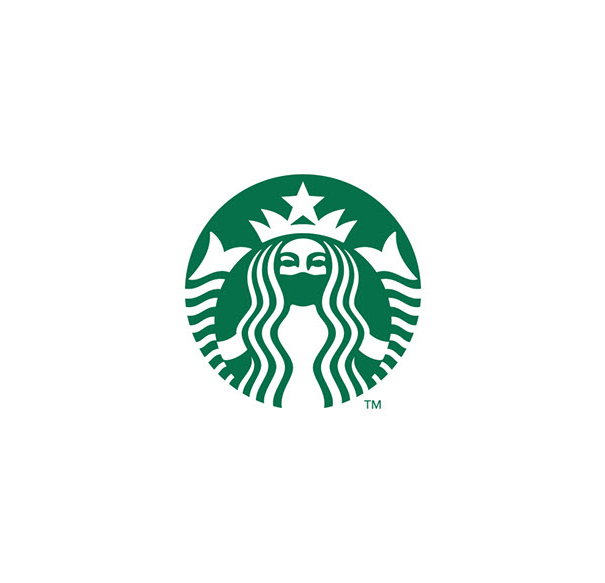 【コロナ禍スタバロゴおもしろ画像】新型コロナ感染防止でマスクするスターバックスのロゴ(笑)