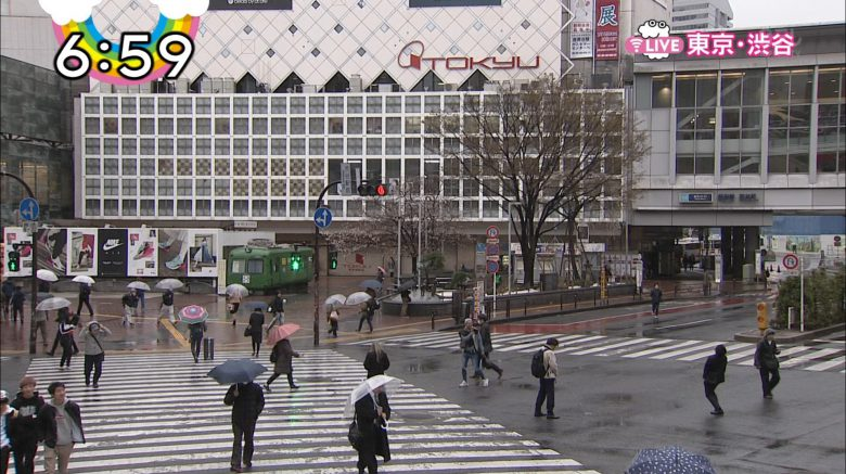 【テレビ放送事故おもしろ画像】ZIPの渋谷スクランブル交差点のお天気カメラに映った放送事故!