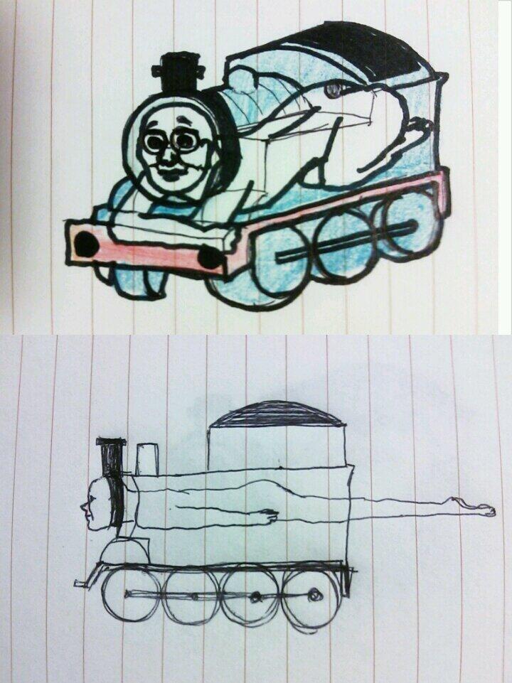 昔のノートから出てきた「きかんしゃトーマス」のおもしろい落書き(笑)