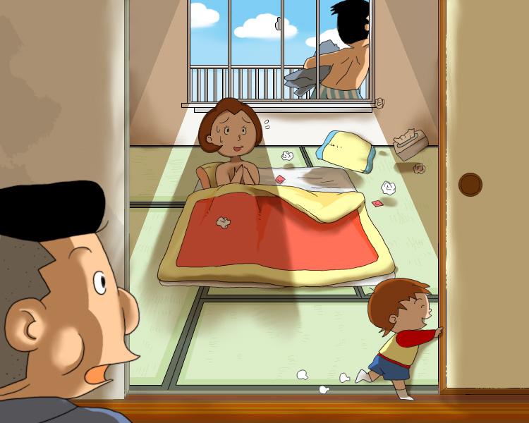 【サザエさんおもしろイラスト画像】サザエさんパロディ!ノリスケが家に帰ったらとんでもないことに(笑)