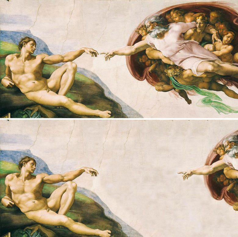 【ソーシャルディスタンスおもしろ画像】ソーシャルディスタンスを保つミケランジェロ絵画『アダムの創造』(笑)