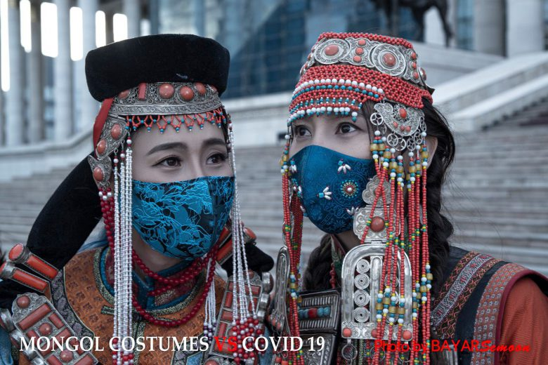 【モンゴルのコロナ対策マスクおもしろ画像】モンゴルのオシャレな新型コロナウイルス感染症対策マスク(笑)