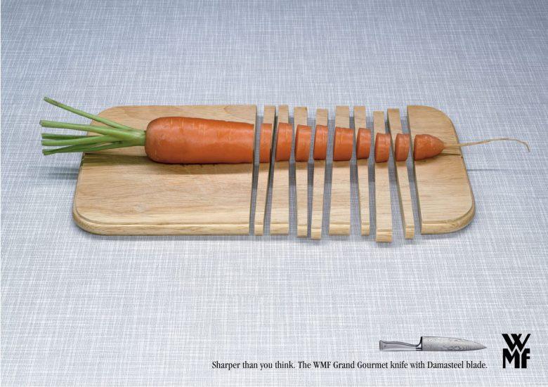 切れ味が良すぎて、まな板まで切ってしまう包丁の広告(笑)