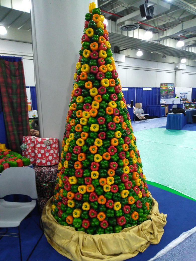 【パプリカクリスマスツリーおもしろ画像】パプリカで作られたカラフルなクリスマスツリー(笑)
