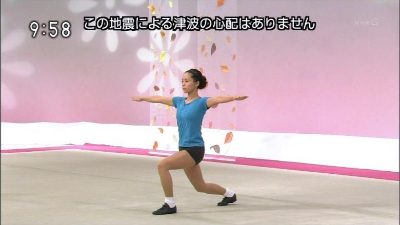 【テレビテロップおもしろ画像】地震速報テロップと一致した体操ポーズ(笑)