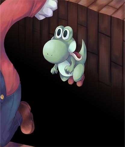 【マリオおもしろイラスト】穴に落ちそうなマリオに乗り捨てられたヨッシー(笑)