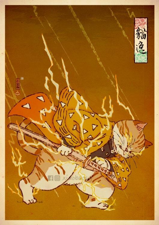 【鬼滅の刃おもしろイラスト】鬼滅の刃のキャラを猫にした日本画風イラストがすごい(笑)