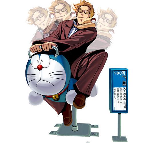 【ムスカおもしろイラスト】100円のドラえもん遊具で遊ぶムスカ(笑)