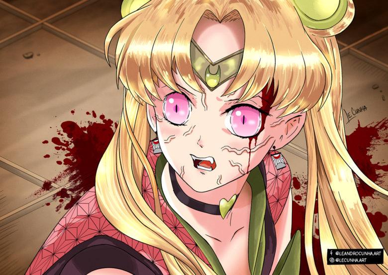 【鬼滅の刃おもしろイラスト】セーラームーンチャレンジで描かれた鬼滅の刃キャラクター(笑)