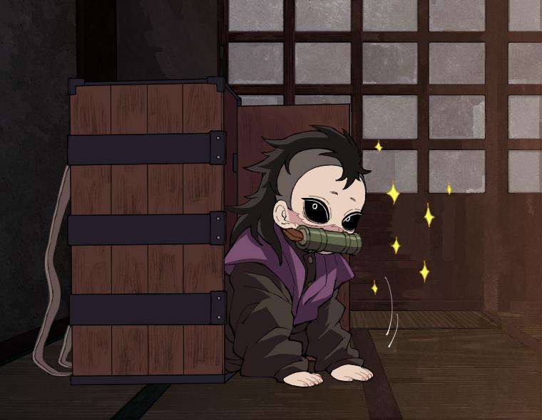 禰豆子の箱に入るデフォルメ不死川玄弥