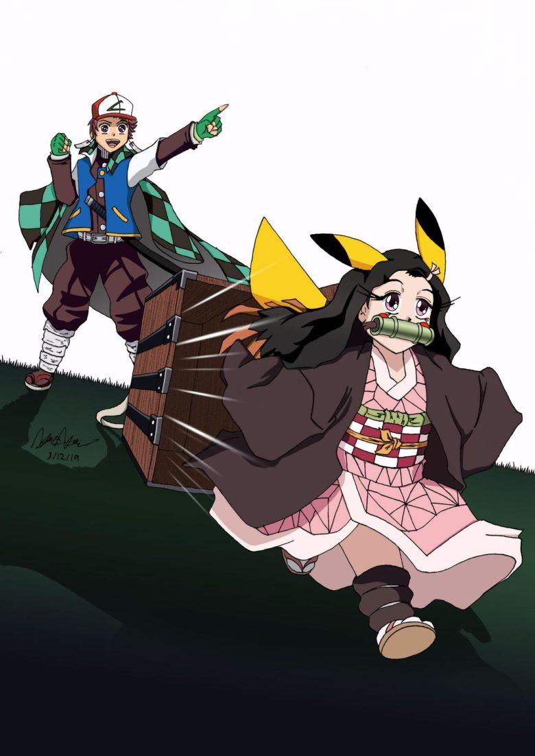 【鬼滅の刃おもしろイラスト】サトシ炭治郎とピカチュウ禰豆子(笑)