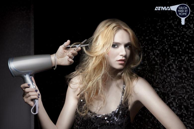 【アイデア広告おもしろ画像】上手にヘアセットがそうなAtmaヘアドライヤー広告(笑)