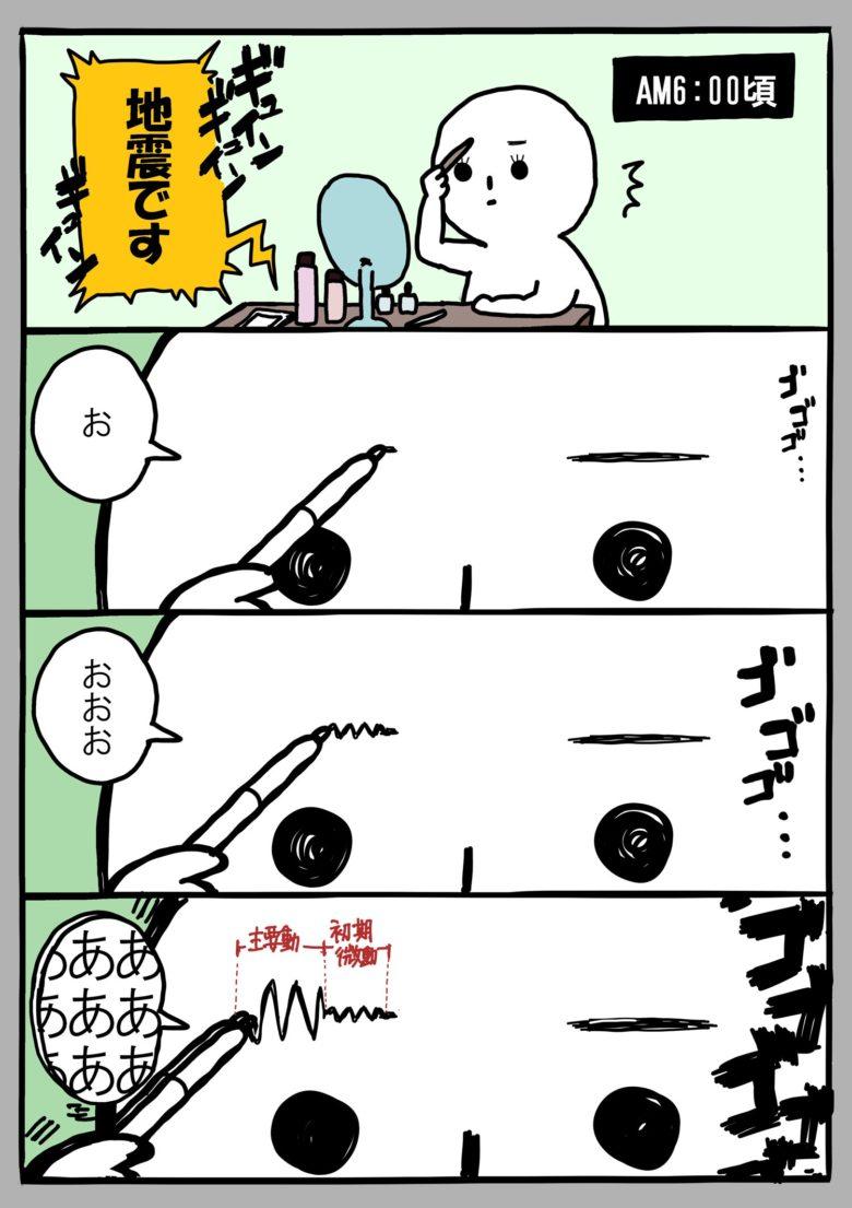 【地震おもしろ4コマイラスト】メイク中に地震が発生して起きたおもしろい出来事(笑)