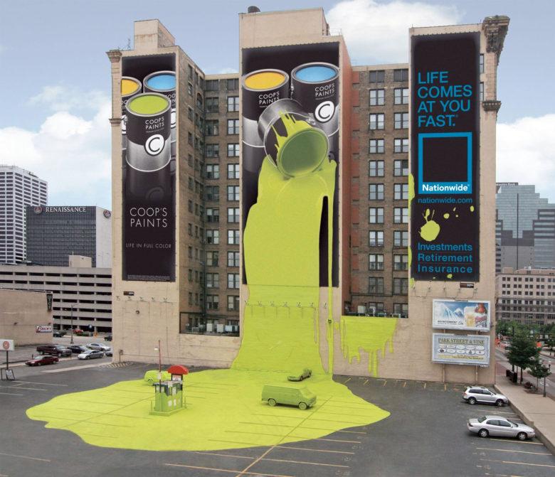 【海外広告おもしろ画像】ペンキが垂れて大変なことになる海外の保険会社の広告(笑)
