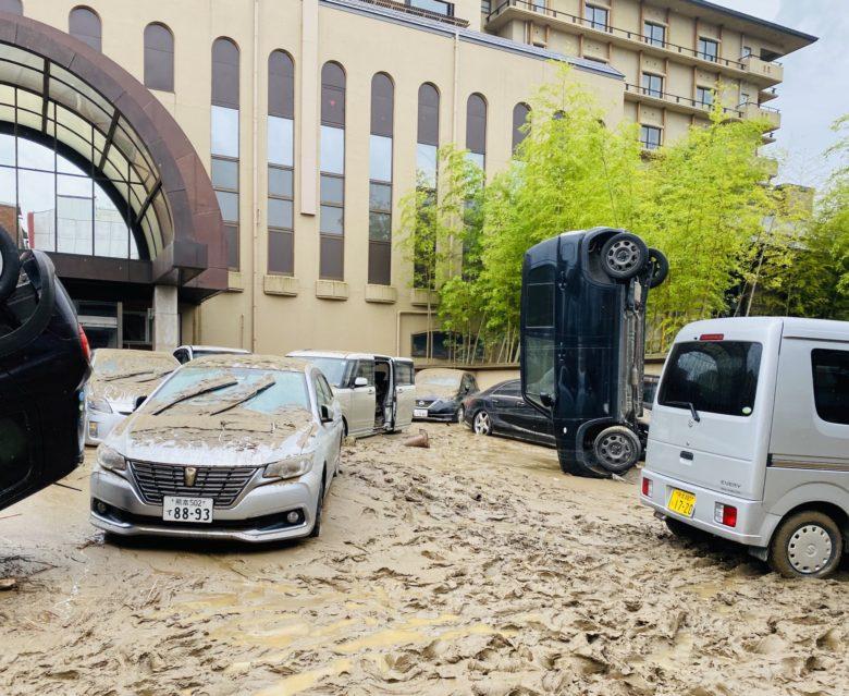 【水害衝撃画像】大雨による水害ですごいことになった熊本県の鮎の里ホテル前!