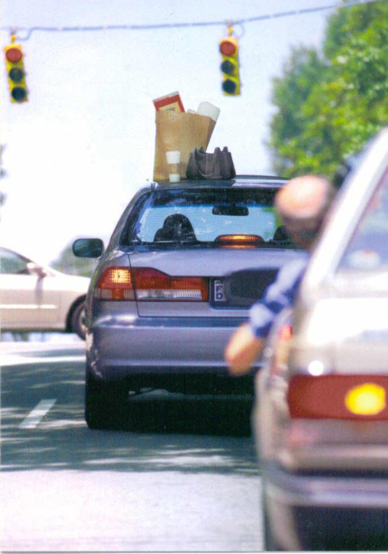 【自動車おもしろ画像】前を走る自動車の屋根に乗っている物にびっくり(笑)