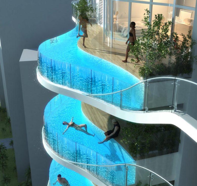【プールおもしろ画像】バルコニーにプールがあるインドムンバイの超高層住宅団地(笑)