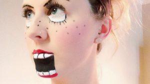 おもしろメイク! 外国人女性の腹話術人形のようなハロウィンメイクが笑えます(笑)